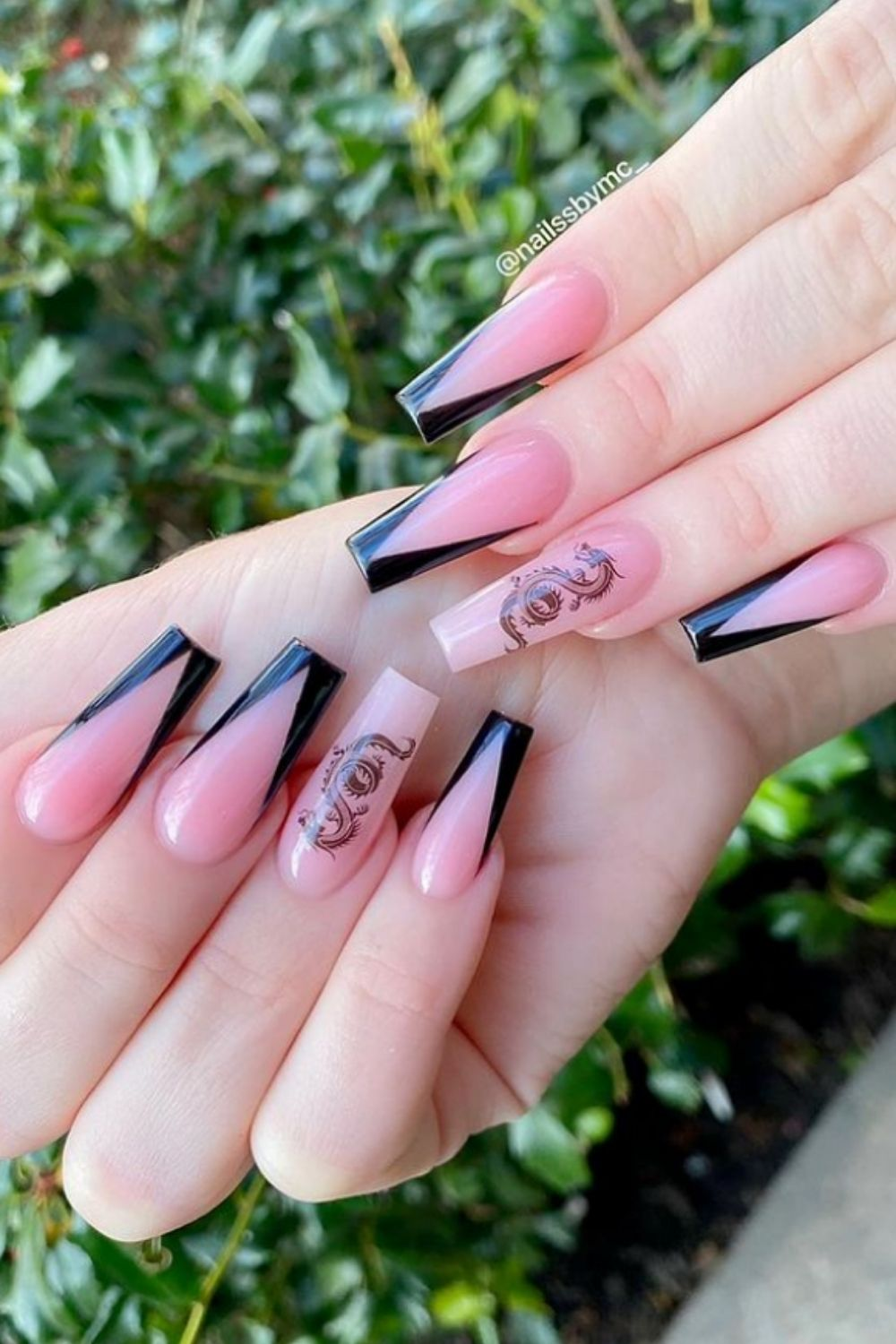 V French tip coffin nails | Elegant Coffin Nails You Need to See